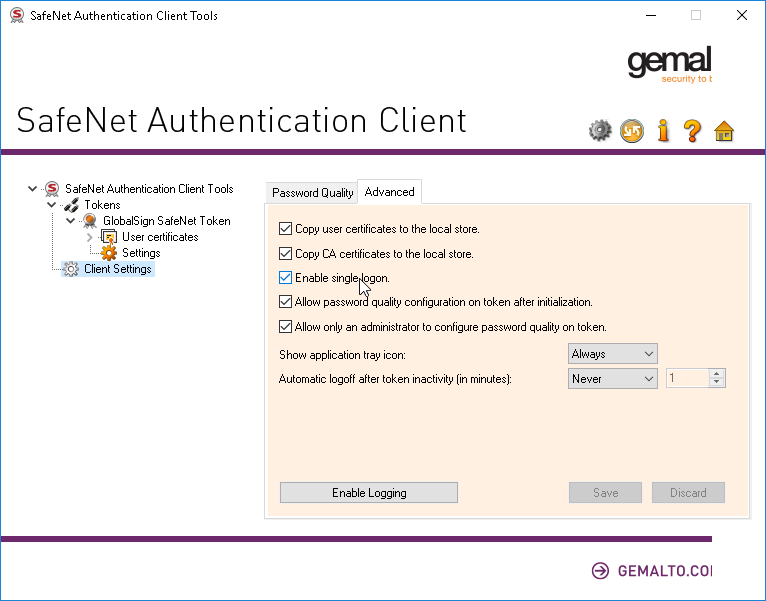 SafeNet Client Settings